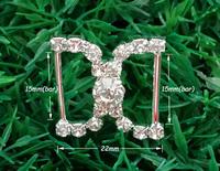 20pcs Craft Buckles,Diamante Rhinestone DIY Ribbon Sliver Bridal Napkin Buckle Invitation  Party Wedding Supplies A13(15mm Bar)