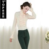 New Office Lady Shirt  Blouse Spring Autumn Silk Shirts Ruffled Collar Flare Sleeve Sweet Design Hot Sale Women Shirts Top E5252