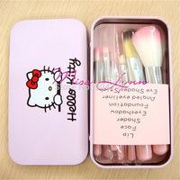 Lovely Pink HELLO KITTY Makeup Brush set+Metal Box 7 sets of utensils Beauty Supplies Cosmetics Foundation Blending Makeup Kit