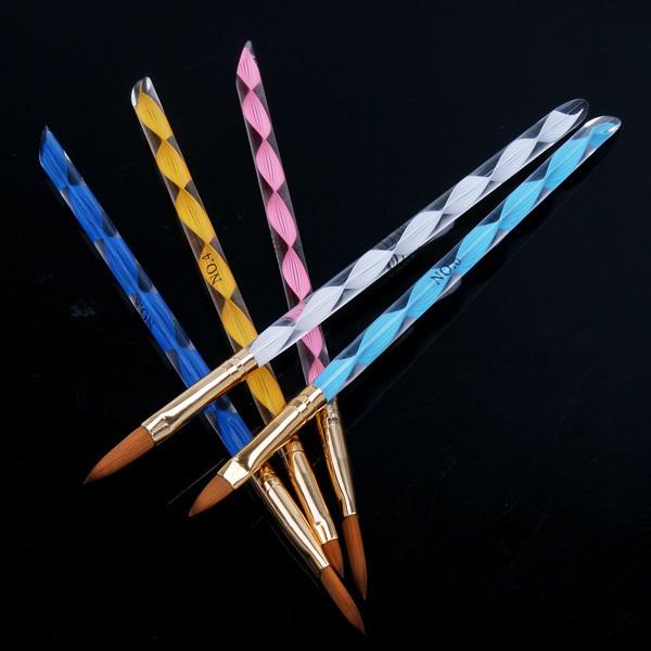 5pcs New 2-way Sable Acrylic Nail Art Brushes Pen 3D Nail Brushes Cuticle Pusher Makeup Tools 5 sizes Free Shipping(China (Mainland))
