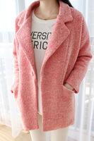 New winter 2015 korea style vintage loose plus size women lady casual coat,single button turn-down collar woman clothes blazer