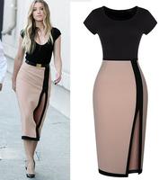 WZ12-31 2015 Summer New Fashion Ladies Short Sleeve Stitching Slim Sexy Slit Pencil Dress Package Hip Dress