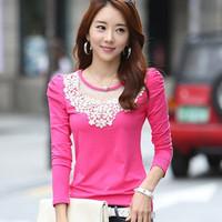t shirt women fashion tops for women long sleeve big size 2014 femininas white basic sexy tee shirts tshirt