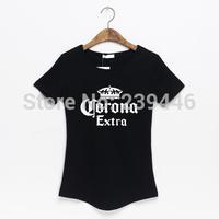 Beer Brand Corona Extra Carlsberg Print T-shirts Women Fashion Leisure Design T Shirts Plus Size Loose Cotton Tshirts