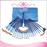 New style 24pcs/set fashionable blue women's cosmetic kit brand Makeup Brush set leather cosmetic case bag