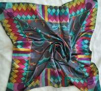 2015 New  Brand 90*90cm designer  Printed Satin Blue Women Handkerchief Square headband Scarf high quality bandanas