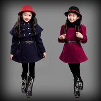 2015 autumn and winter fur collar girls clothing baby child cloak bat sleeve dress outerwear Woolen shawl dress 2pcs