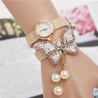 Hot Sale Women Wristwatch New Fashion Casual Watch Butterfly Wrap Leather Golden Quartz Dress Watch Women Watch