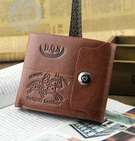 Free shipping! Promotion leather mens wallet with magnetic hasp travel credit card holde