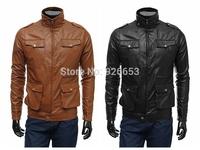 2014 New Korean Style Mens Fashion Winter Coat Simple Buckle Design Zipper Slim Casual Leather Jacket Size L XL XXL