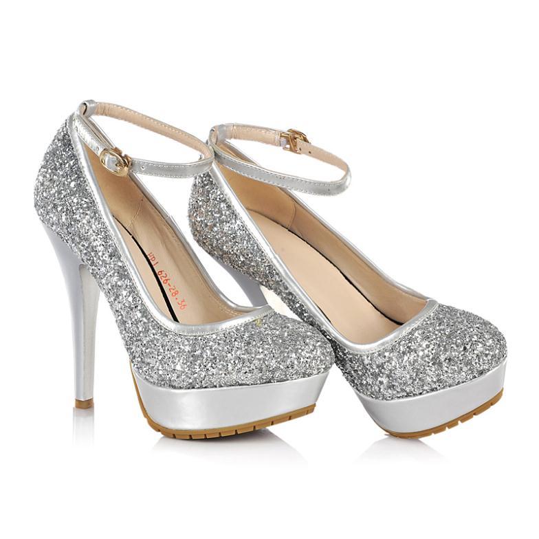 Silver Glitter Round Toe Pumps Silver Black Round Toe