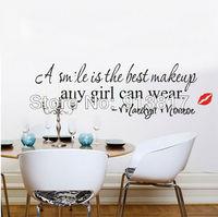 Free Shipping 63cm*20cm Smile Girl Marilyn Monroe Words English Alphabet Wall Stickers Decal Wallpaper Art Home Decor