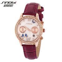 Big Discount Sinobi Luxury Brand Multifuction Crystal Butterfly Dress Wristwatch Casual Calendar Watch for Women