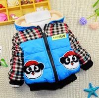1-4Y 2014 winter little boys warm cotton-padded jacket coat imitated fur fleece liner X14061
