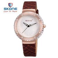 SKONE Women Genuine Leather Strap Watch And Jewelry Decorative Rhinestone fFshion Watches Japanese Quartz Watch