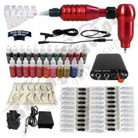 WHOLESALE ! Hawk Rotary Tattoo Machine Gun Kit Permanent Makeup Pen+ Power Supply+50 pcs Needles + 23 ink