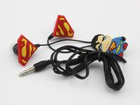 Cute Cartoon Superman University Headphones earphone in-ear Fashion Cell phone headsets for iphone Samsung mp3 phone PC Computer