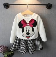Retail 2014 autumn winter fashion cartoon Minnie 2 pieces suit kids Minnie hoodies+pettiskirt  Christmas gift 1031