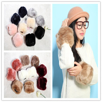 1 Pair Faux Rabbit Fur Cuff Gloves Winter Women Warm Sweet Hand Ring Wrist Ankle Protection New Fashion