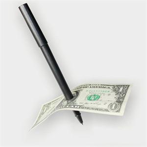 New Magic Trick Ball Pen Brand Black Magician Toy Thru Bill Penetration Dollar Bill Pen Trick(China (Mainland))