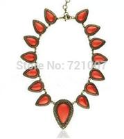 Necklace Women New 2014 Fashion Vintage Retro National Fashing Red Trend Drop Stone Alloy Necklace Semi-precious Stone