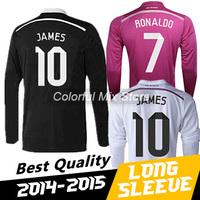 Free Shipping 2015 Real Madrid Long Sleeve Soccer Jersey RONALDO JAMES Best Thai Quality 14 15 Real Madrid Football Jerseys