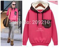 Plus size S-XL beige pink women autumn winter thick fleece warm hooded Pullover hoodies 2015 spring knitted cotton sweatshirt