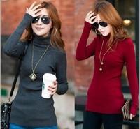Female autumn and winter turtleneck knitted basic slim shirt long sleeve length pullover sweater female