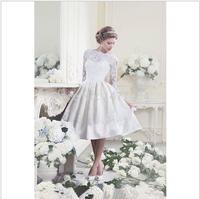 Elegant High Neck Long Sleeve Wedding Dresses Short 2014 See Through Lace White Bridal Gowns vestidos de novia158451221