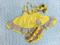 FASHION baby girl toddler gray yellow quatrefoil swing top baby swing outfits swing sets