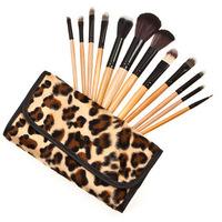 12PCS Leopard Makeup Brushes Maquiagem Sets Kits Wood Professional Cosmetics Face Care Brand No Logo Sex Products Kabuki Brush