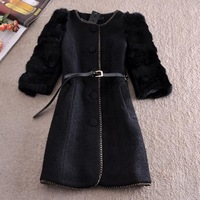 2014 New Fashion Winter Woollen Coat  Luxury Jacket Women Outerwear Rabbit Fur Sleeve Patchwork Vintage Thicken Coat Parka Belt