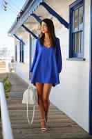 Hot new summer 2014 loose casual chiffon dress round neck short section fashion S/M/L/XL women's dress VC0055