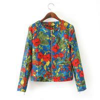 Good quality brand desigual 2015 spring autumn long sleeve flower print casual women jacket,slim zipper all-match outwear coat
