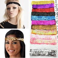 Hotsale Fashion Sequin Headband Multi-colored Glitter Elastic lot Stretch Headbands Women Headwear Hair Accessories