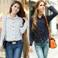2014 New summer  Long Sleeve Women chiffon Shirt plus size womens blouses Polka Dots Vintage chiffon Blouse free shipping VC0143