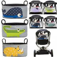 Storage bag stroller free shipping waterproof canvas bag kawaii animals infant prams nursing bottle bags KA039