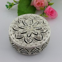 Best Selling Hot selling Silver metal diamond trinket box round shape free shipping