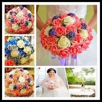 6pcs romantic handmade wedding artificial 30pcs rose flower bride bouquet bride holding flower Wedding favors hand flower ball