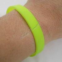 Rubber Bangle Elastic Belt Soft Sport Cuff Bracelet Solid Bright Yellow Silicone