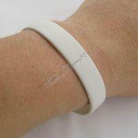 1 pc Silicone White Rubber Bangle Elastic Belt Soft Sport Cuff Bracelet Solid