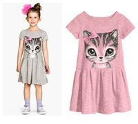 Free shipping! 2015 New summer girl dress cat print grey baby girl dress children clothing children dress 2-8 years