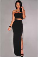 Free Shipping 2015 New Sexy Bodycon White Black Dot Cutout Maxi Skirt Set NA6554 Novelty Women Clothing Set Skirts High Street