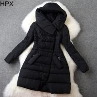 Women Casual Fashion Hooded Long Sleeve Slim Duck Down Jacket Coat 2014 Autumn Winter New European American Style O020