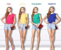 2014 New Women Chiffon T Shirts Femininas O-neck Short Butterfly Sleeve Top Roupas Casual Tees Blusas Wholesale Free Shipping