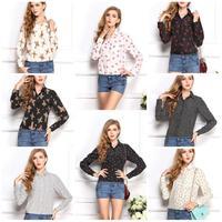 Women Girl Long Sleeved Chiffon Lip Cross Polka Dot Printed Blouse Tops Loose T Shirt Summer Blouse