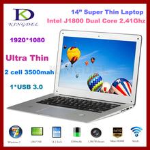 Cheap china laptops Intel Celeron J1800 14 inch computers Dual Core 2.41Ghz, 2GB RAM+640GB HDD,1920*1080, USB 3.0