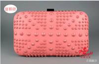 luxury 2014  women Clutch Rivet day clutch  hasp evening clutch for wedding party  women shoulder bag Clutch bag 25N
