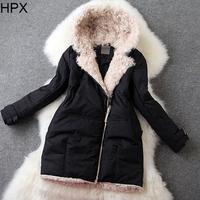 Women Casual Long Sleeve Zipper Hooded Slim Wool Duck Down Jacket 2014 Autumn Winter New European Style Brand Designer Coat O021