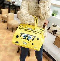 2014 Fashion Handbags Cartoon SpongeBob SquarePants Bags Shoulder Women Girls Yellow Cute Free Shipping